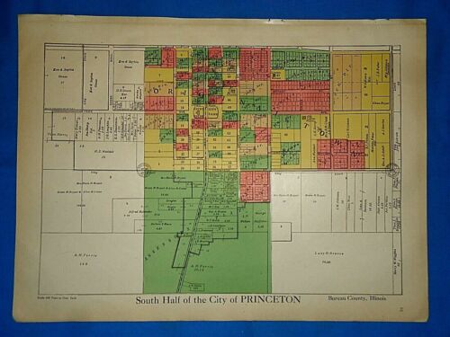Vintage 1916 CITY of PRINCETON, ILLINOIS MAP Ancestry Genealogy Family History