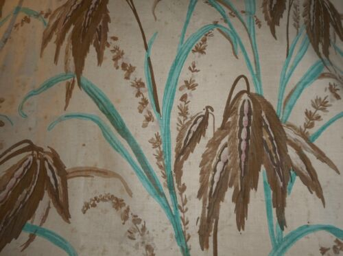Antique French Botanical Marsh Grasses Painted Antique Fabric ~ Turquoise Brown