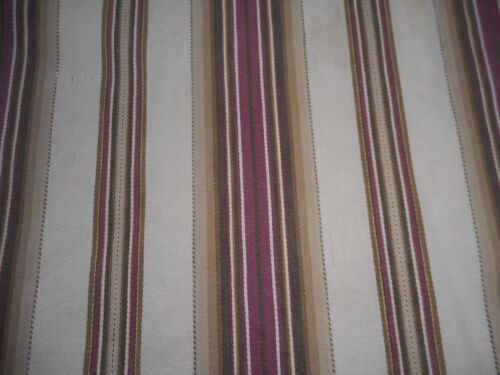 Antique Primitive Rustic Farmhouse Wide Stripe Ticking Fabric~ Brown Madder