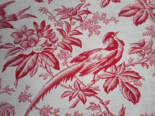 Antique French Floral Roses Bird & Butterfly Red Toile Cotton Fabric #1 ~