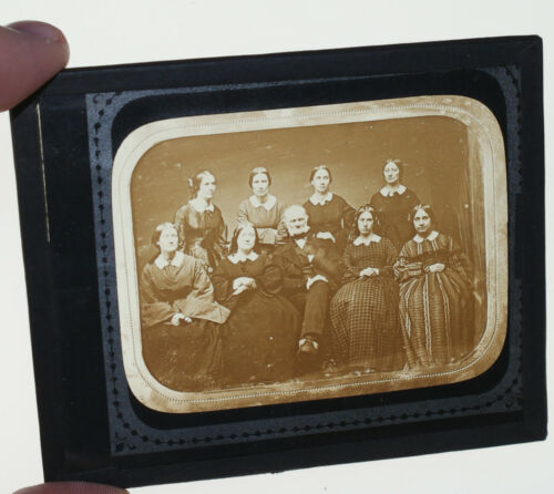 Eastern usa FAMOUS man ? group?  glass slide of a daguerreotype (cracked)