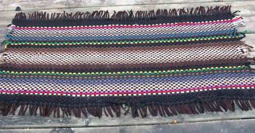 """Woven Fabric Strips Rug Black Multicolor 31x69"""" Hallway Lodge Country FREE SH"""