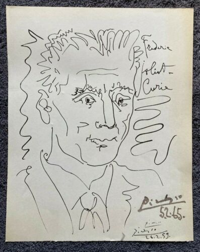 """1959 Picasso lithograph """"Frédéric Joliot-Curie"""" free EXPRESS w/wide"""