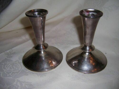 PAIR VINTAGE ALVIN STERLING SILVER #5269 WEIGHTED CANDLESTICK HOLDERS HALLMARKED