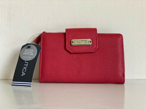 NEW! NAUTICA CLOSE REACH TAB INDEXER RED SOFT LAMB LEATHER WALLET W/ RFID $35