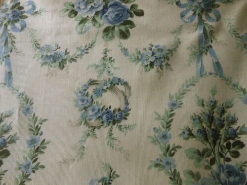 Antique French Garland Ribbons Roses Cotton Fabric ~ unused ~ Blue Green Yellow