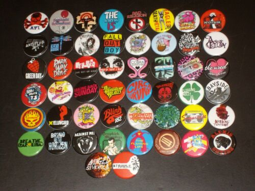Assorted Emo/ Metal/ Punk Buttons /  Pins 50