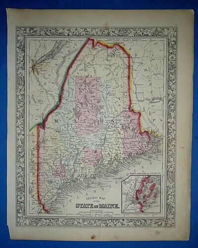 Antique 1863 S A Mitchell's New General Atlas Map ~ MAINE ~ Old Authentic