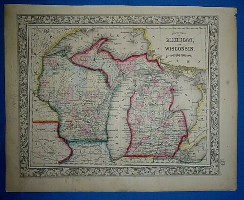 Antique 1863 S A Mitchell New General Atlas Map MICHIGAN - WISCONSIN Authentic