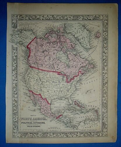 Antique 1863 S A Mitchell's New General Atlas Map NORTH AMERICA Old Authentic