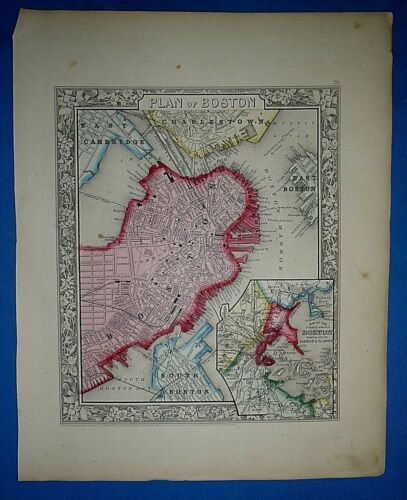 Antique 1863 S A Mitchell's New General Atlas Map ~ BOSTON ~ Old Authentic