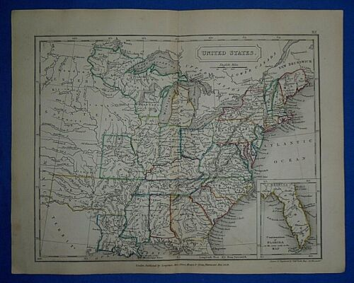 Antique 1829 Dr Butler's Atlas Map ~ UNITED STATES ~ Authentic Sidney Hall