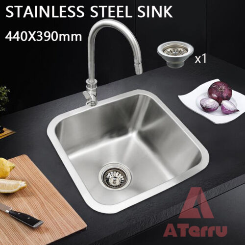 Stainless Steel Kitchen Sink Laundry Sinks Top/Undermount Single Bowl 440x390mm <br/> ✔5-year Warranty✔Watermark Approved Water Strainer✔