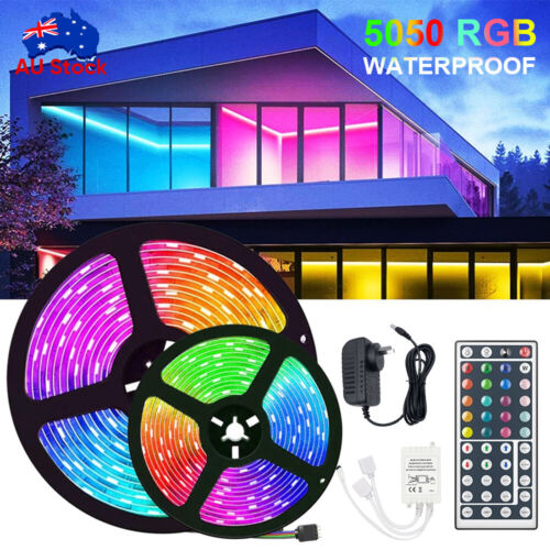 RGB LED Strip Lights 5M IP65 Waterproof 5050 12V+44 KEY IR CONTROLLER Adapter