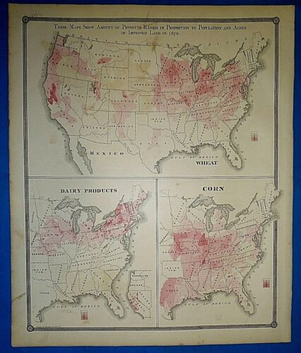 Antique 1878 UNITED STATES Map ~ WHEAT - CORN - DAIRY PRODUCTION ~ Old Authentic