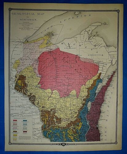 Antique 1878 Geological Map of WISCONSIN ~ Old Authentic