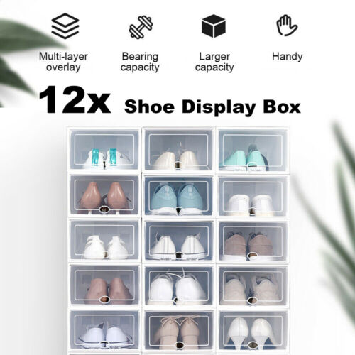 12 Transparent Shoe Storage Box Organizer Boxes Stackable Household Drawer