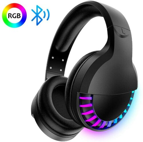 AU Wireless Bluetooth Gaming Headset Headphones Stereo for w/Mic PC RGB Backlit