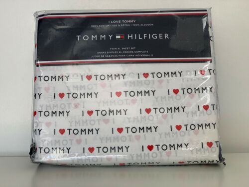 """TOMMY HILFIGER """"I LOVE TOMMY"""" 3-PC TWIN XL SIZE SHEETS BEDSHEETS SET WHITE $100"""