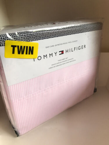 NEW TOMMY HILFIGER 3-PC TWIN SIZE SHEETS BEDSHEETS SET PINK WHITE OXFORD STRIPES