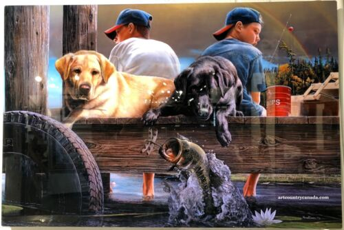 """Kevin Daniel """" Who's Fishing """" Limited Edition Infused Giclee Art Metal Panel"""