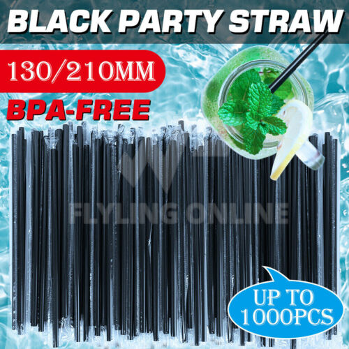 Black Drinking Straw Party Cocktail Plastic Disposable Straws Individual package <br/> 🔥🔥Buy 1000pcs Get 100pcs for Free🔥🔥