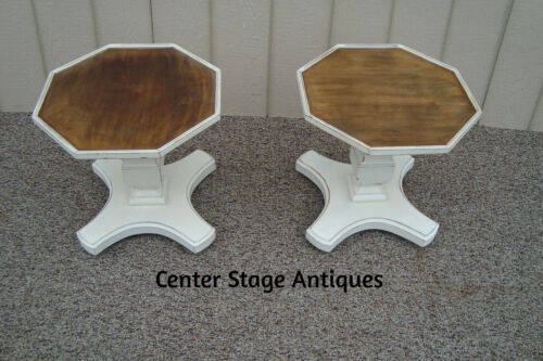 59446  Pair Octagon Decorator Wood Coffee  End Table Nightstand s Stands