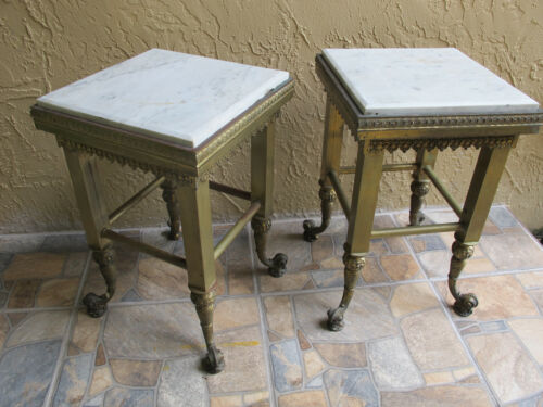 """PAIR (2)  Victorian Ornate Brass End Tables w/ Marble Tops  21"""" H x 14"""" Sqare"""