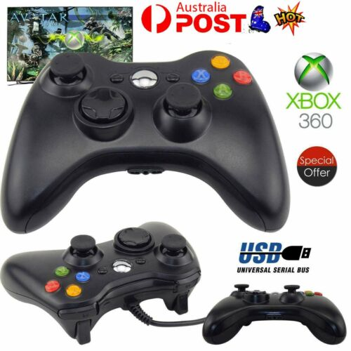 New Black Wired Controller for Xbox 360 Console USB Windows/PC AU STOCK