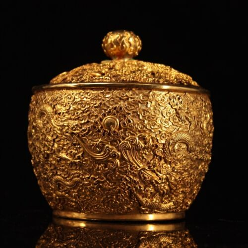 China Qing Dynasty Pure copper gilded with gold Hand carving Dragon store pot