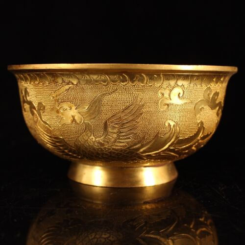 old  China  antique  Tang dynasty  Pure copper gilding  Animal pattern  bowl