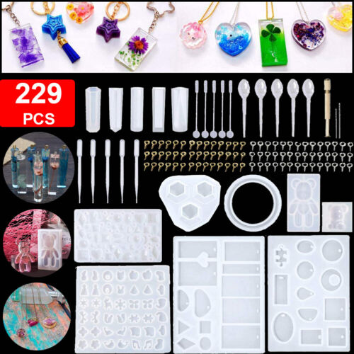 229 Pcs Epoxy Resin Casting Silicone Molds Kit Diy Jewelry Making Pendant Craft