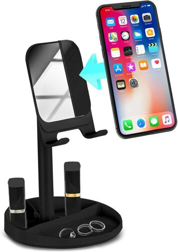 Aduro Solid Cell Phone Stand with Mirror for Smartphones & Tablets Desk Mount