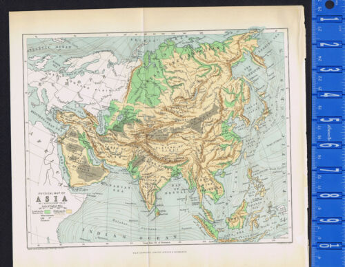 COUNTRY & PHYSICAL MAP of ASIA, CONTINENT, Bartholomew -  1891 Antique Map