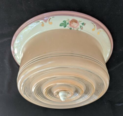 Rare Antique PORCELIER Pink Bullseye Porcelain & Glass Ceiling Fixture, Rewired