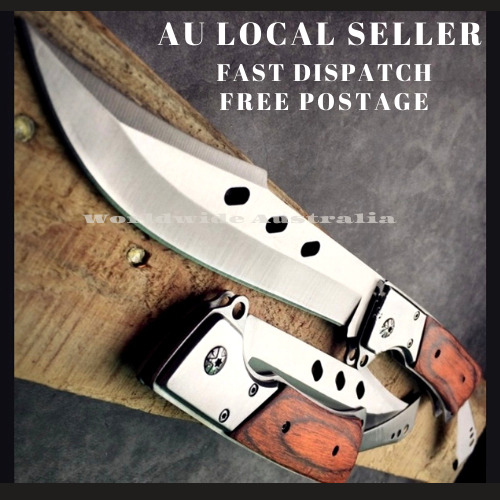 Brown Handle knife Outdoor Survival Camping Pocket Hunting Knife Fixed Blade AU