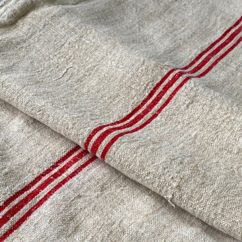 Red TEXTURAL   grainsack grain sack hand woven linen hemp  textile COTTON