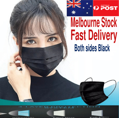 Black Disposable Face Mask Non-Surgical Face Mask CE Certified 3PLY 50/100pcs