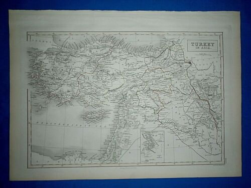 1847 Atlas Map ~ TURKEY in ASIA ~ Eng. by Geo Atkman ~ Antique & Authentic