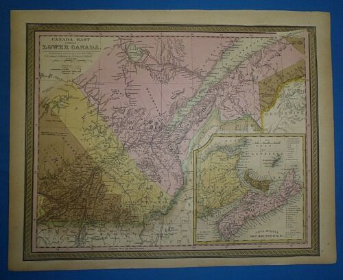 1849 S A Mitchell New Universal Atlas Map ~ CANADA EAST ~ Antique & Authentic