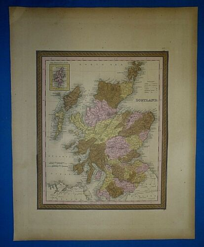 1849 S A Mitchell New Universal Atlas Map ~ SCOTLAND ~ Old Authentic