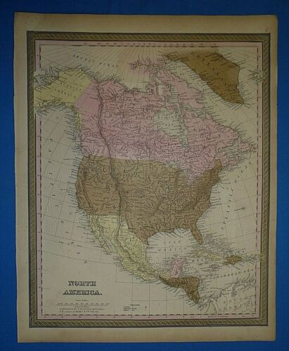 1849 S A Mitchell New Universal Atlas Map ~ NORTH AMERICA ~ Antique & Authentic