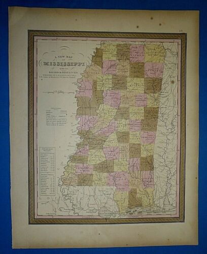 1849 S A Mitchell New Universal Atlas Map ~ MISSISSIPPI ~ Old Antique Authentic