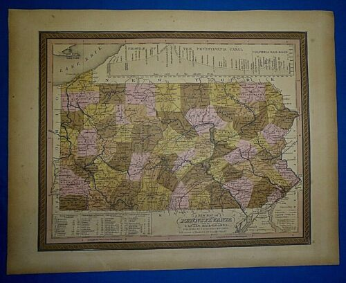 1849 S A Mitchell New Universal Atlas Map ~ PENNSYLVANIA ~ Old Antique Authentic