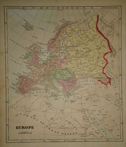 Antique 1856 Hand Colored EUROPE MAP Old Authentic Vintage Atlas Map