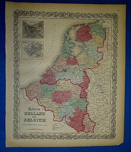 Antique 1860 Colton's Atlas Map ~ HOLLAND - BELGIUM ~ Old & Authentic