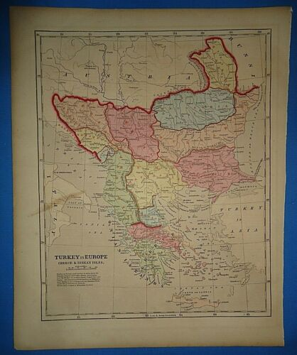 Antique 1856 Hand Colored TURKEY in EUROPE MAP Old Authentic Vintage Atlas Map