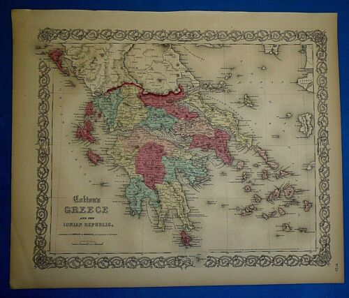 Antique 1860 Colton's Atlas Map ~ GREECE - IONIAN REPUBLIC ~ Old & Authentic