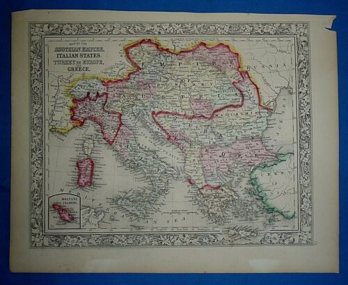 Antique 1863 S A Mitchell New General Atlas Map ITALY GREECE AUSTRIA Authentic