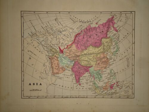Antique 1856 Hand Colored ASIA - ARABIA MAP Old Authentic Vintage Atlas Map